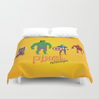 super heroes Duvet Covers featuring Super Heroes - Pixel Nostalgia by Boo! Studio