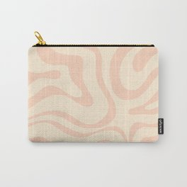 Modern Liquid Swirl Abstract Pattern in Pale Blush and Cream Carry-All Pouch