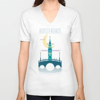 amsterdam V-neck T-shirts featuring Amsterdam by Milli-Jane