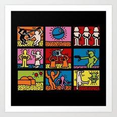 Keith Haring & star W.2 Art Print
