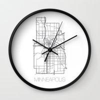 minneapolis Wall Clocks featuring Minneapolis by linnydrez