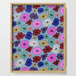 Bright, funky modern floral with spots on powder blue Serving Tray
