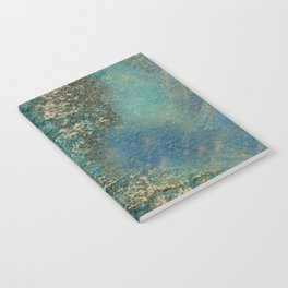 Blue And Gold Modern Abstract Art Painting Notebook