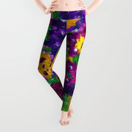Colorful painted bouquet of flowers Leggings
