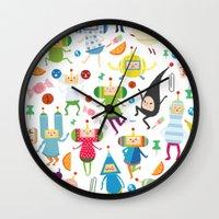 katamari Wall Clocks featuring KATAMARI DAMACY by Erin Lowe