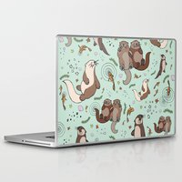 otters Laptop & iPad Skins featuring Sea Otters by Nemki