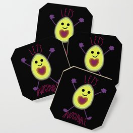 Let's Avocuddle AVOCADO - dark bg Coaster