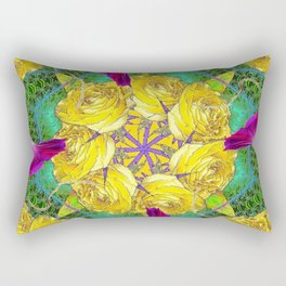 MYSTIC YELLOW ROSES MORNING GLORIES GREEN ART Rectangular Pillow