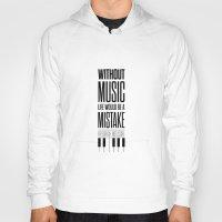 nietzsche Hoodies featuring Lab No. 4 - Friedrich Nietzsche Quote life music typography poster by Lab No. 4