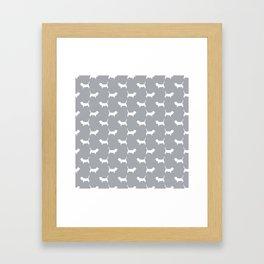 Basset Hound silhouette grey and white dog art dog breed pattern simple minimal Framed Art Print