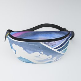 Abstract Watercolor Seascape with Octopus and Sailboat2 Fanny Pack