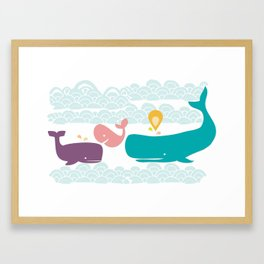 Whimsical whales Framed Art Print