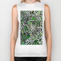green pattern Biker Tanks featuring Green Pattern by Marcela Caraballo