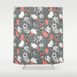 Seamless pattern design with hand drawn flowers and floral elements Shower Curtain