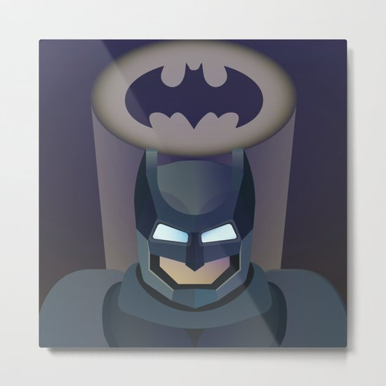 Bat man helmet fanart Metal Print