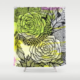 green flowers Shower Curtain