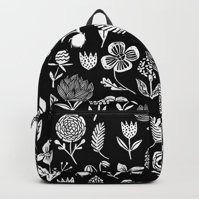 Linocut black and white floral botanical nature art pattern gifts home decor dorm college boho Backpack