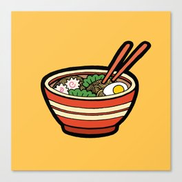 Ramen Bowl Pattern in Orange Canvas Print