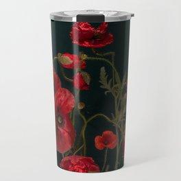 Red Poppies On Black Travel Mug
