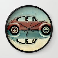 bug Wall Clocks featuring love bug by Vin Zzep