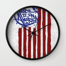 We Made it in America (white) Wall Clock