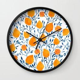 Lemons Botanical Pattern // Blue and Yellow Palette Wall Clock