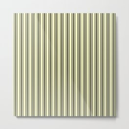 Large French Cream Mattress Ticking Black Double Stripes Metal Print