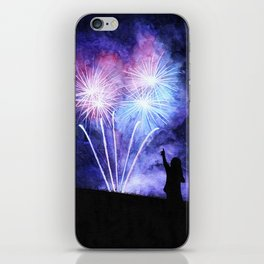 Blue and pink fireworks iPhone Skin