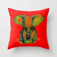 Elephant with Tiny Bird Throw Pillow