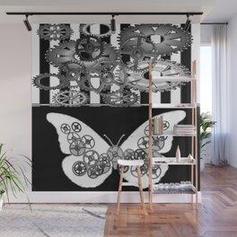 BLACK & WHITE CLOCKWORK BUTTERFLY ABSTRACT ART Wall Mural