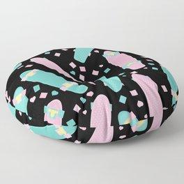 Pastel Skateboards Pattern - Pastel on Black Floor Pillow