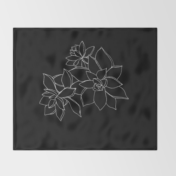 Succulents B&W Throw Blanket