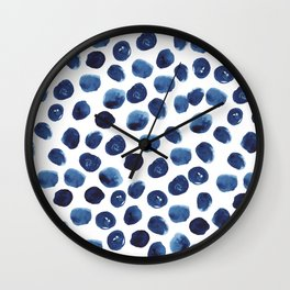 India - blue paint, ink spots, design, watercolor brush, dots, cell phone case Wall Clock