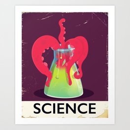 science flask Monster. Art Print