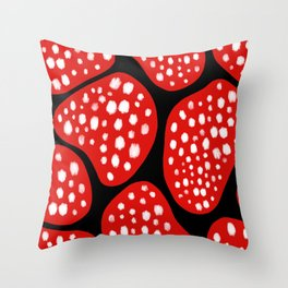 Abstract Red Amoeba Pattern Throw Pillow