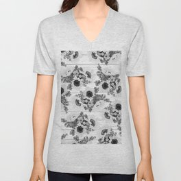 Country rustic black white wood sunflower floral Unisex V-Neck