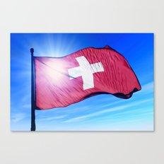 Swiss flag waving on the wind Canvas Print