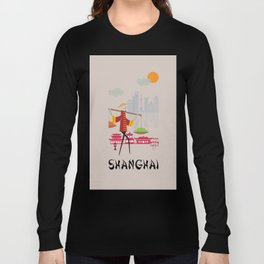 Shanghai - In the City - Retro Travel Poster Design Long Sleeve T-shirt