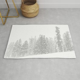Snowy Slope // Mountain Ski Landscape Photography Black and White Snowboarding Winter Decor Rug