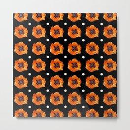 Orange Poppy Pattern Metal Print