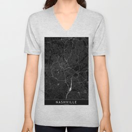 Nashville Black Map Unisex V-Neck