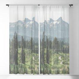 Mount Rainier Adventure II - Pacific Northwest Mountain Forest Wanderlust Sheer Curtain