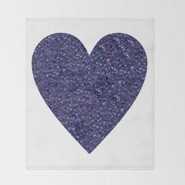 Sparkling Heart blue Throw Blanket