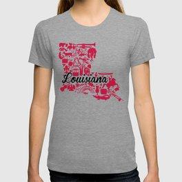 UL Louisiana Landmark State - Black and Red University of Lafayette Theme T-shirt