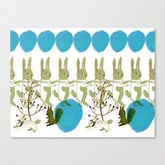 rabbits, squirrel, dot and plant Canvas Print