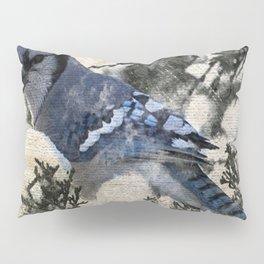 elegant christmas winter snow bird pine tree nature landscape blue jay Pillow Sham