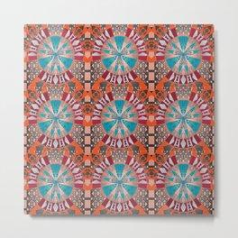 Elegant Ancient Aztec Portal Pattern Mandala Metal Print