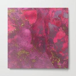 Pink and Gold Blush Rose Gemstone Marble Metal Print