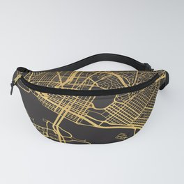 OAKLAND CALIFORNIA GOLD ON BLACK CITY MAP Fanny Pack