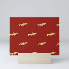 Watercolor Catfish Repeat Red Background Mini Art Print